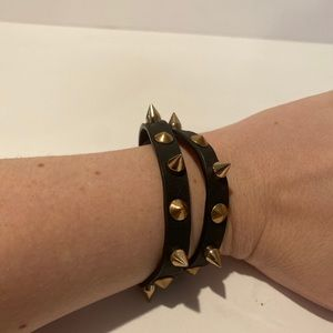 Black and gold spike bracelet cuff leather